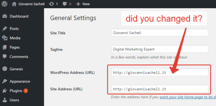 Change URL in WordPress